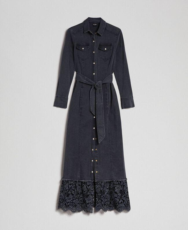 Black Denim Shirt Dress With Lace Flounce Woman Black