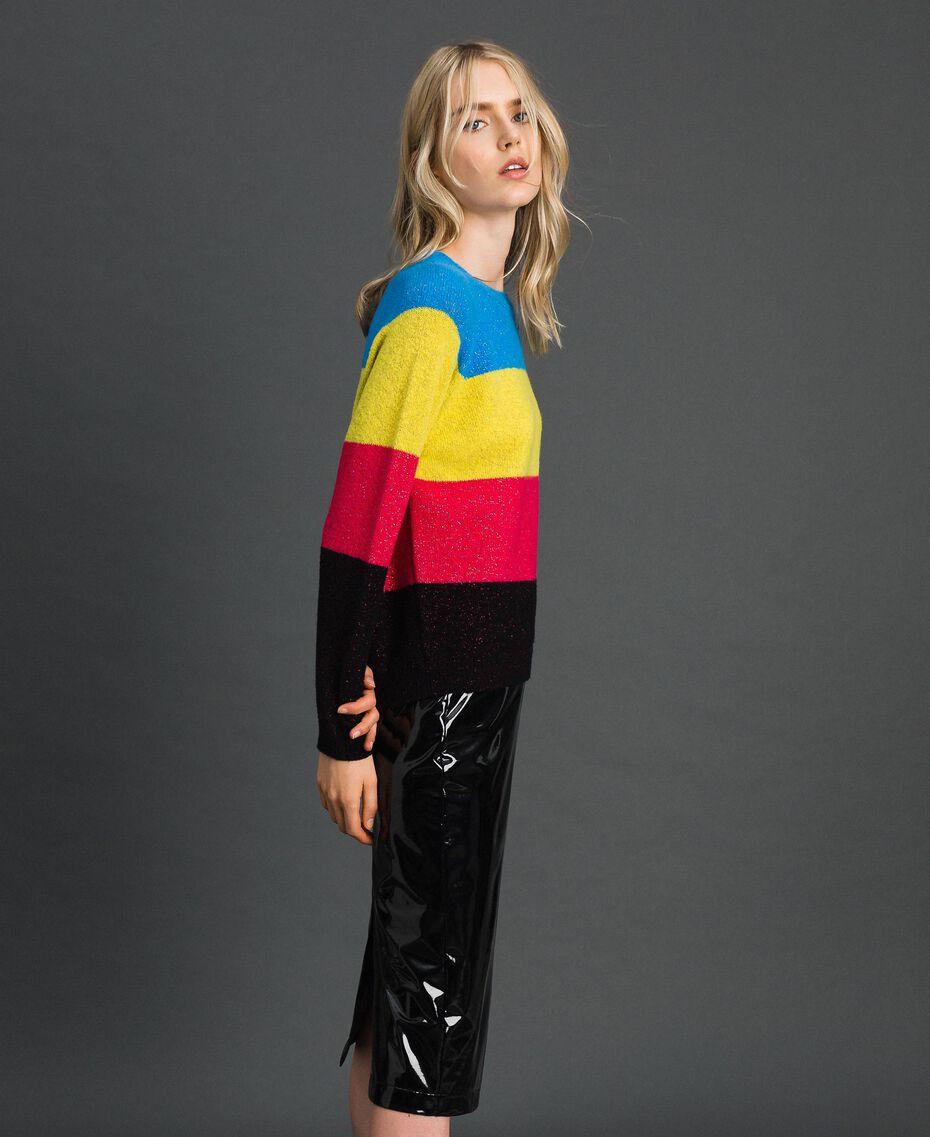 Color-Block-Pullover aus Wolle-Lurex-Mischung Lurex-Tweed Frau 192MT3170-02