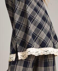 Top à carreaux avec dentelle Jacquard à Carreaux Bleu Ombre Femme 191ST2130-04