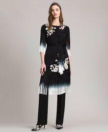 Kleid mit Blumenstickerei und Fransen Schwarz Frau 191TT2132-01