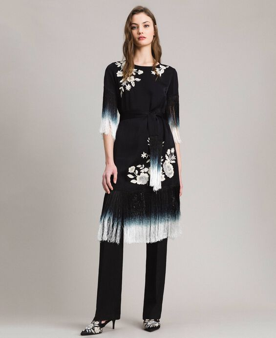 Floral embroidery and fringe dress