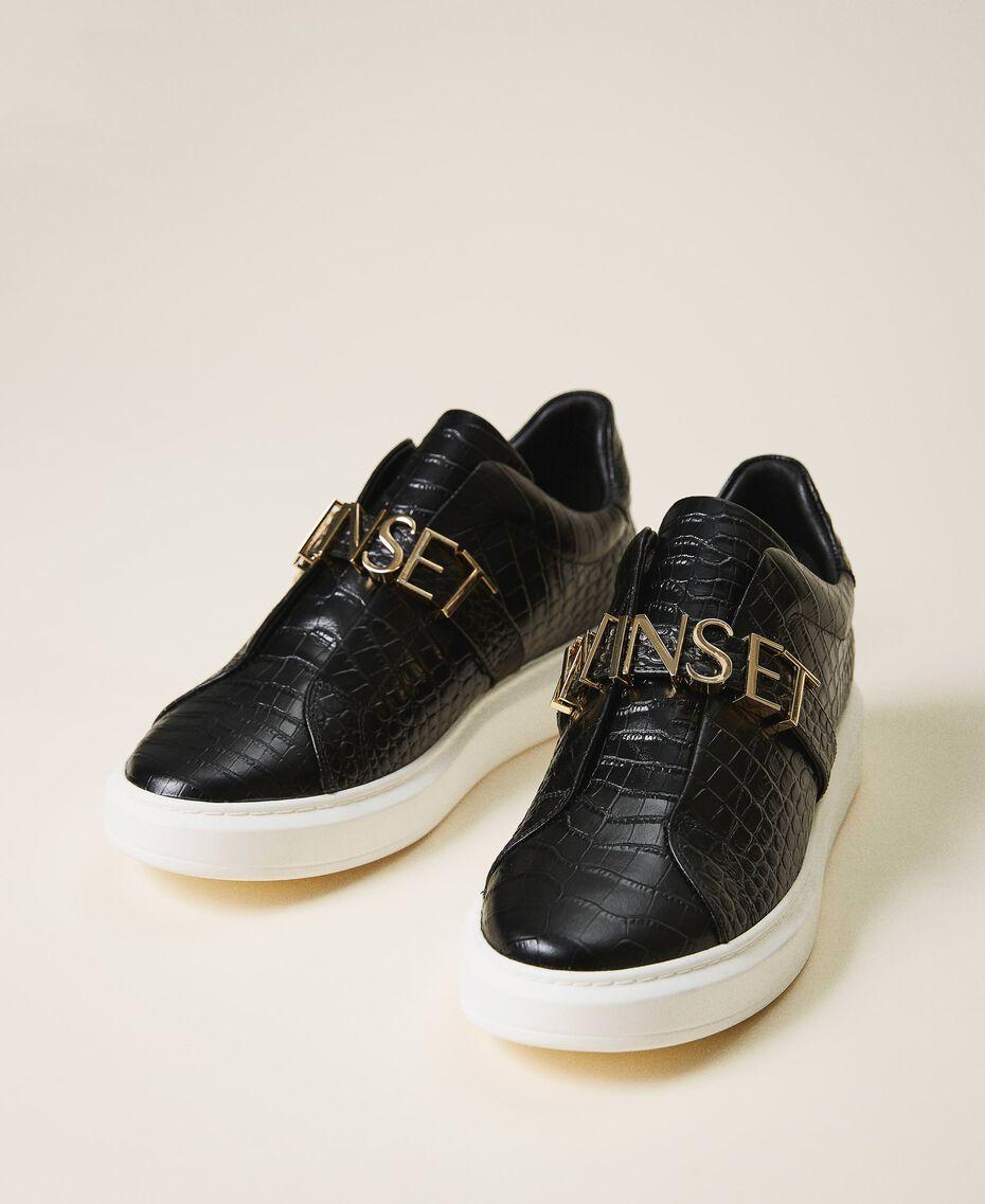 "Sneakers con logo Stampa Coccodrillo Bianco ""Neve"" Donna 202TCP034-02"