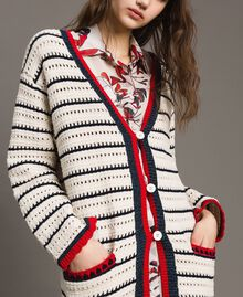 "Openwork knitted cardigan Multicolour Ecru / ""Poppy"" Red / Blue Shadow Woman 191ST3091-04"