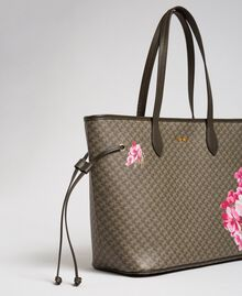 Printed shopper with clutch Army Green Butterfly Floral Print Woman 192TA7017-03