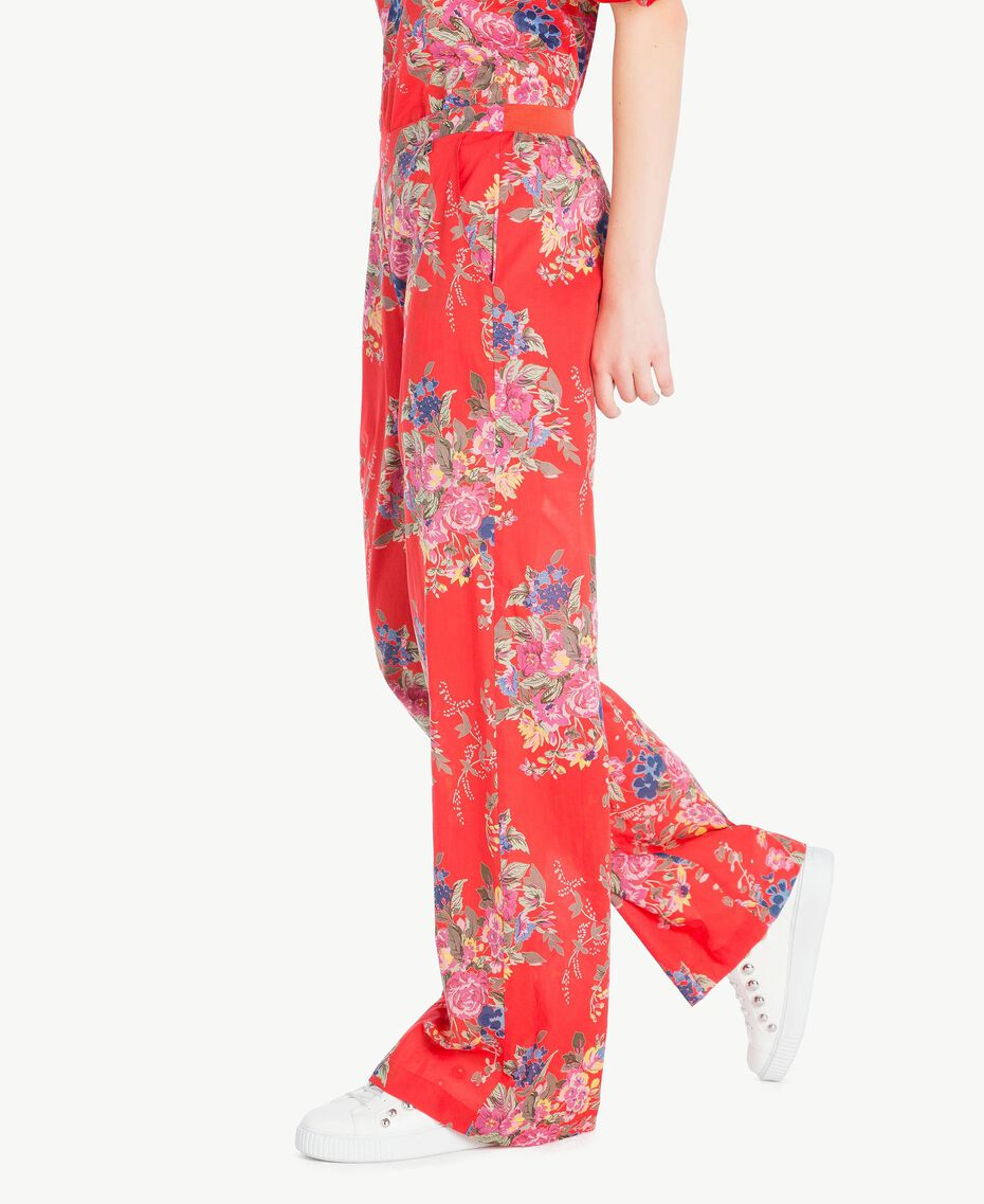 Printed trousers Red Flower Bouquet Print Woman YS82PE-02
