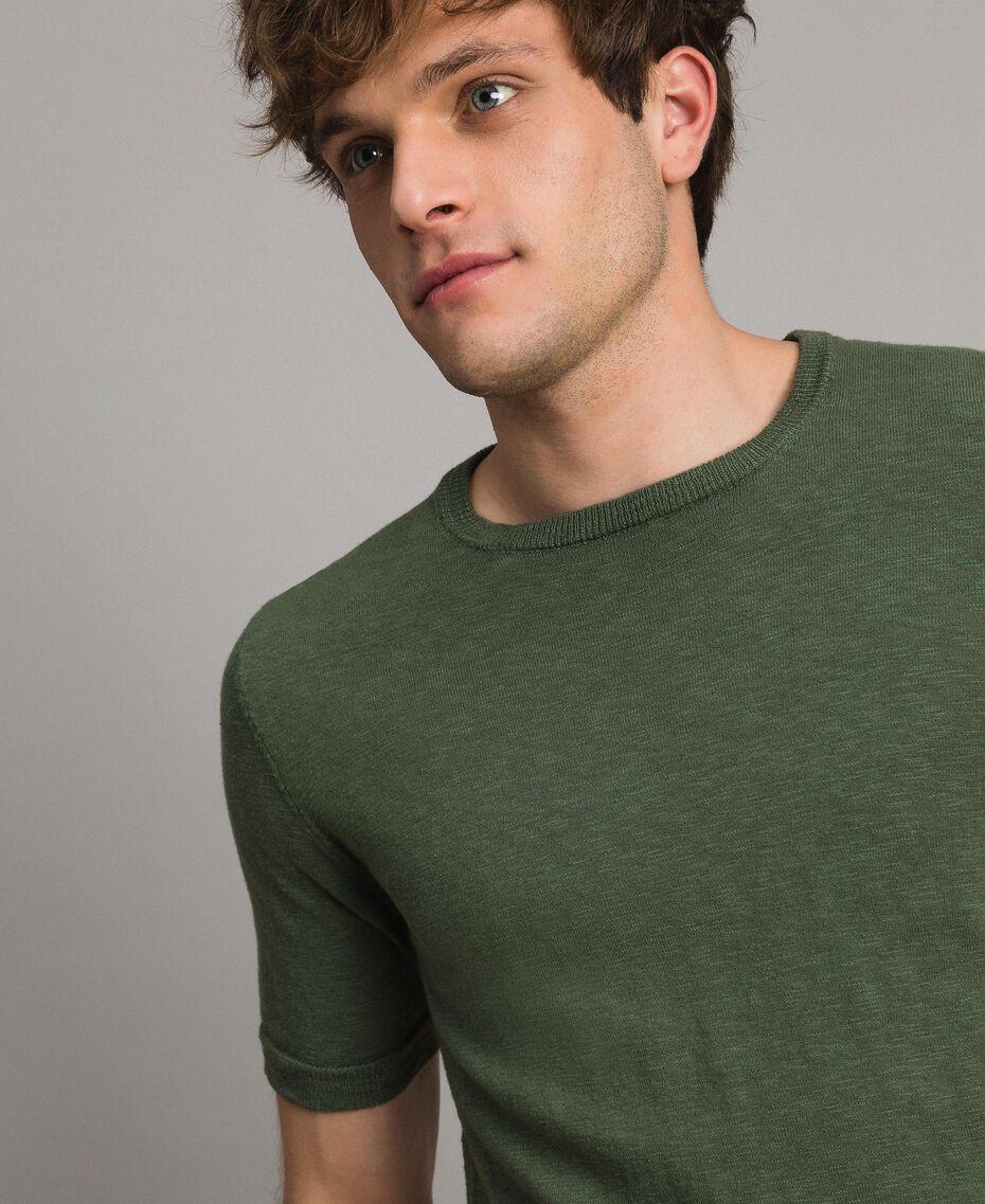 """T-shirt en coton mélangé flammé Vert """"Cactus"""" Homme 191UT3071-01"""