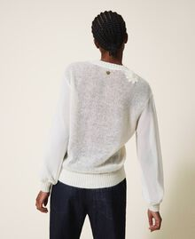 Mohair jumper with embroidery Creamy White Woman 202TP3260-04