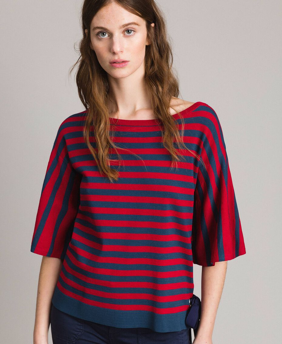 "Pull rayé avec nœud Rayures Lac Profond / Rouge ""Coquelicot"" Femme 191ST3020-02"