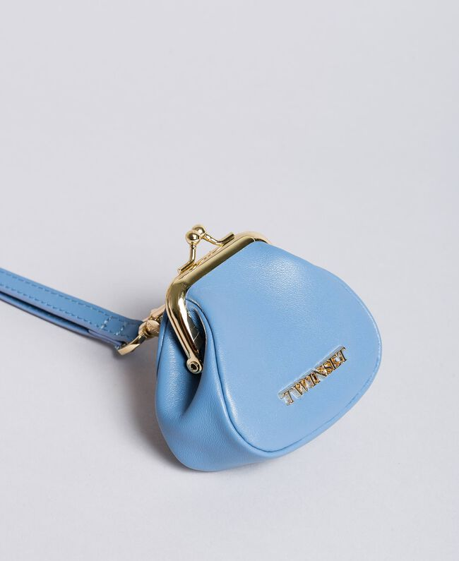 Leather coin purse with shoulder strap Infinite Light Blue Woman AA8PMN-01