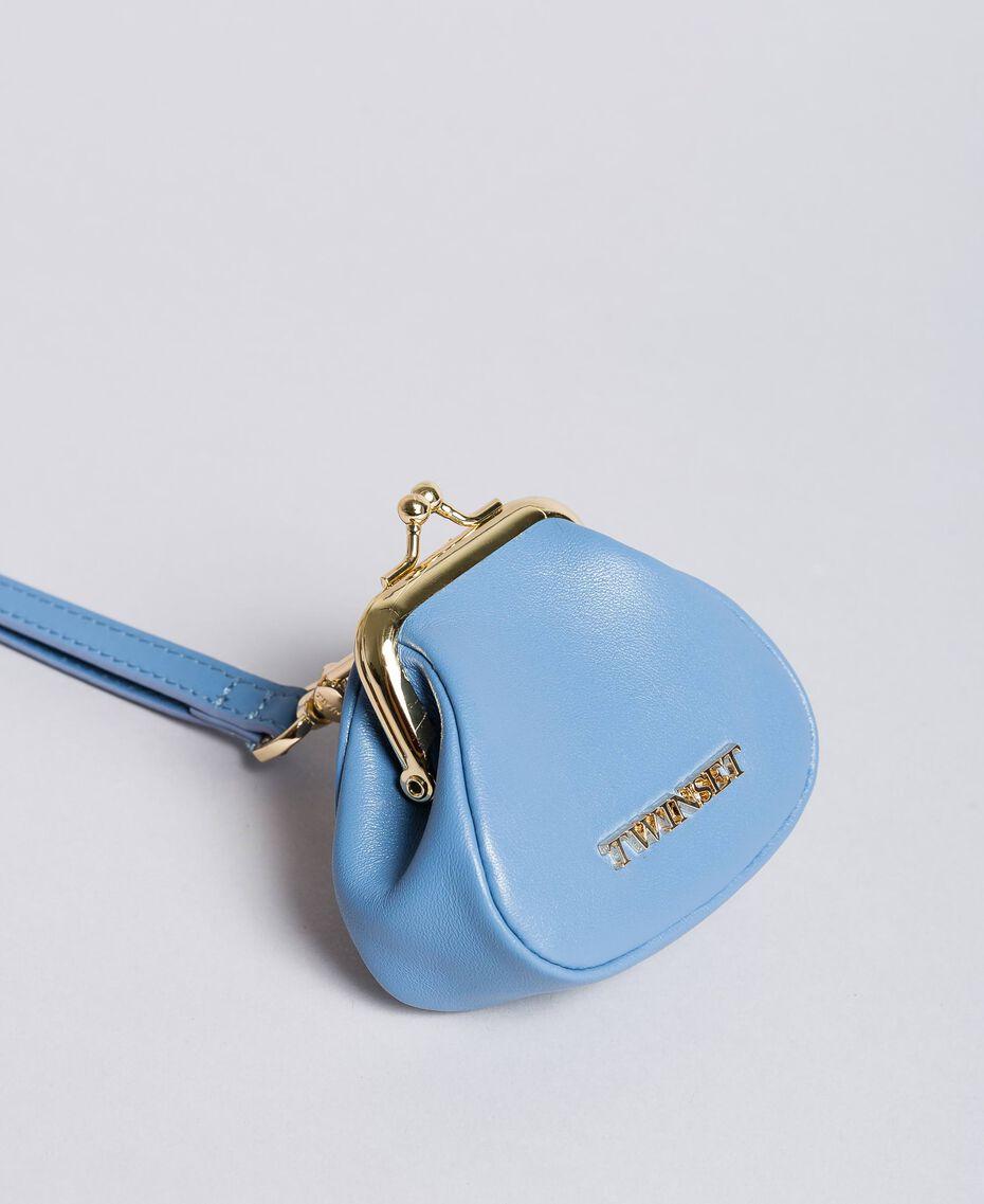 Porte-monnaie en cuir avec bandoulière Bleu Infini Femme AA8PMN-01