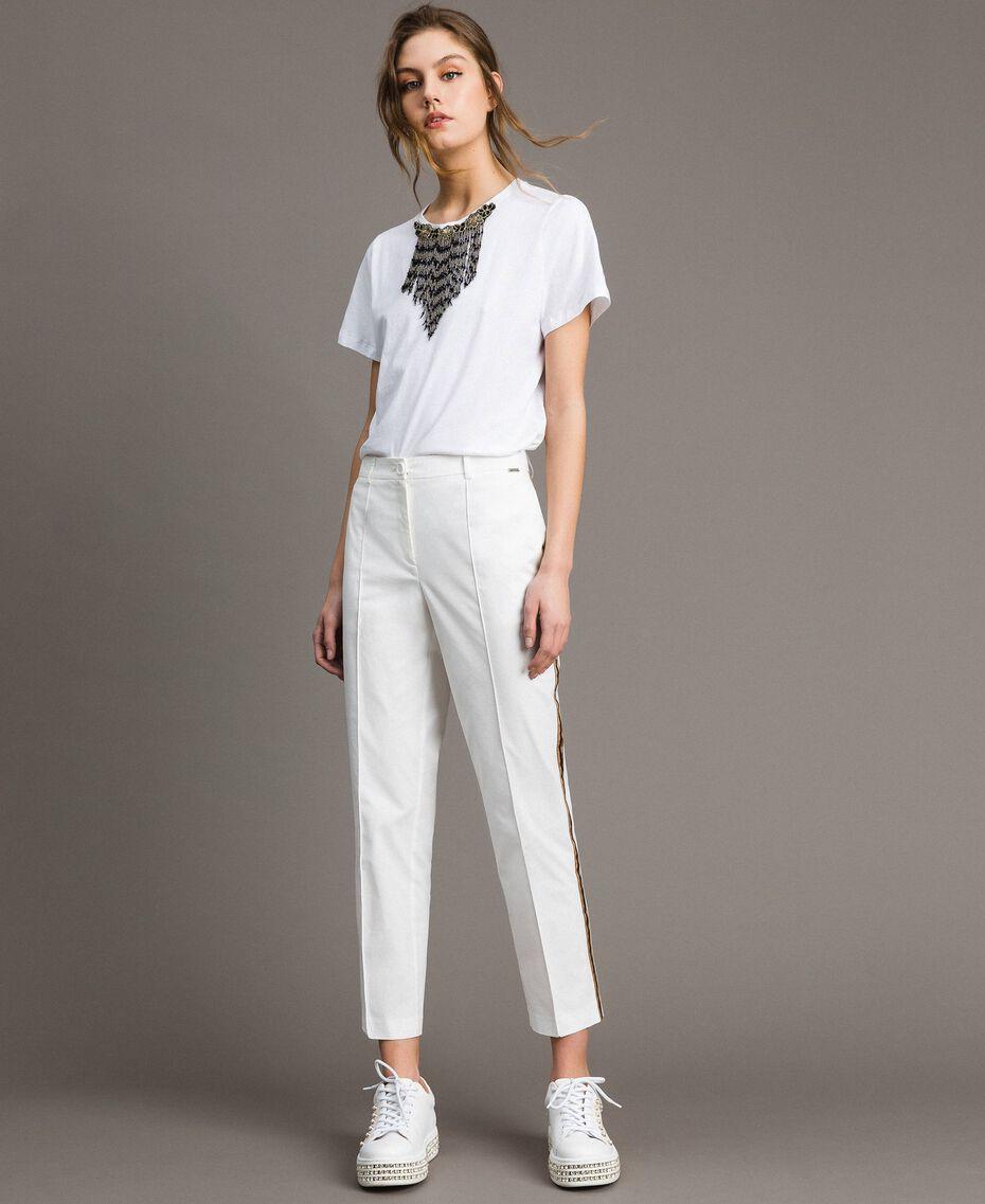 Pantalon en popeline à coupe cigarette Off White Femme 191ST2040-02