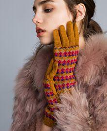 Multi-coloured jacquard gloves Camel Jacquard Stripe Woman OA8T68-0S