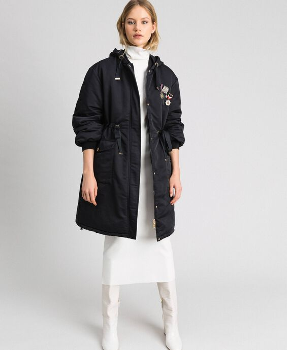 Technical satin padded parka coat
