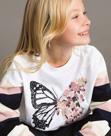 Cotton knitted striped sweatshirt Optical White / Multicolour Striping Child 191GJ2451-0S