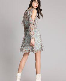 Robe volantée en crêpe georgette floral Imprimé Bouquet Aigue-marine Femme 191TP2573-03