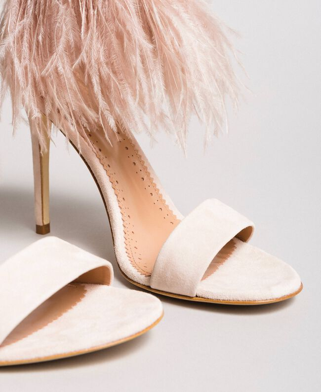 High-heel feather sandals Bud Pink Woman 191TCP210-04