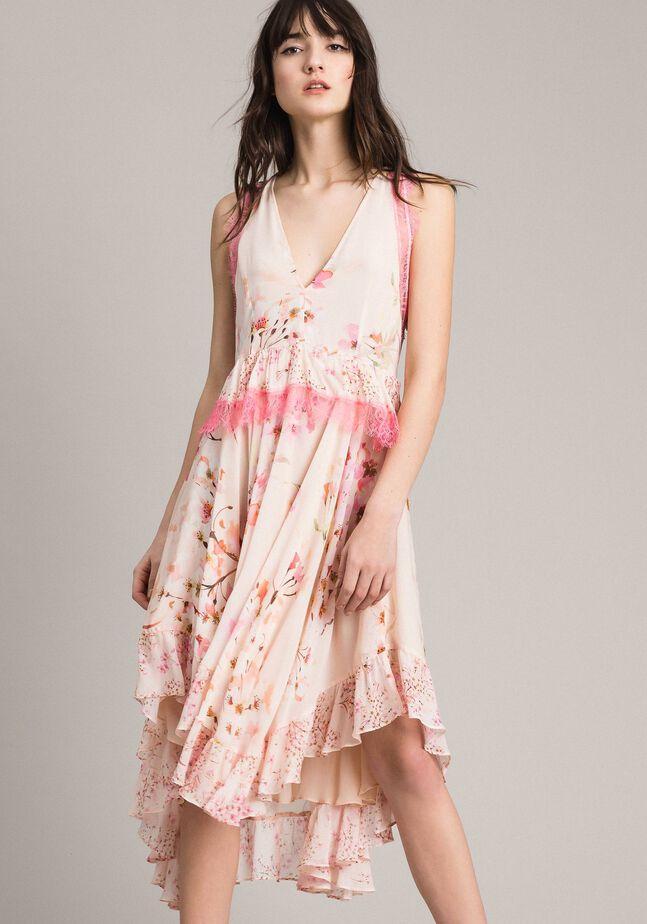 Vestido de georgette con estampado floral y encaje