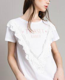 T-Shirt mit Spitze Weiß Frau 191LB2CAA-04