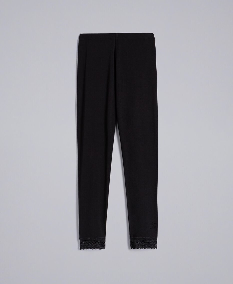 Jersey leggings with lace Black Child GCN2F4-0S