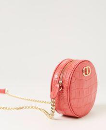 "Leather shoulder bag with crocodile print ""Neon"" Pink Croc Print Woman 211TD8034-01"