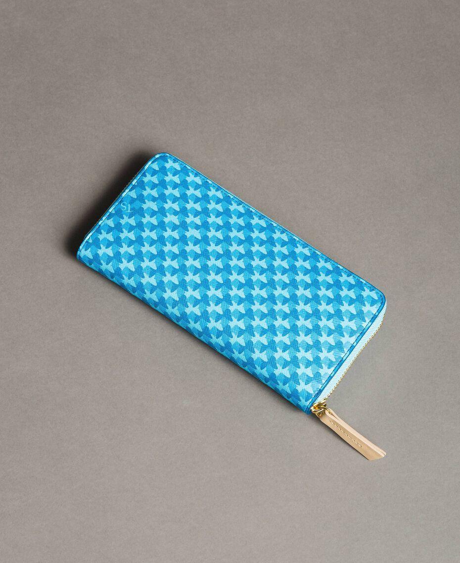 Printed wallet with all-over butterflies Mikonos Light Blue Butterflies Print Woman 191TA7177-03