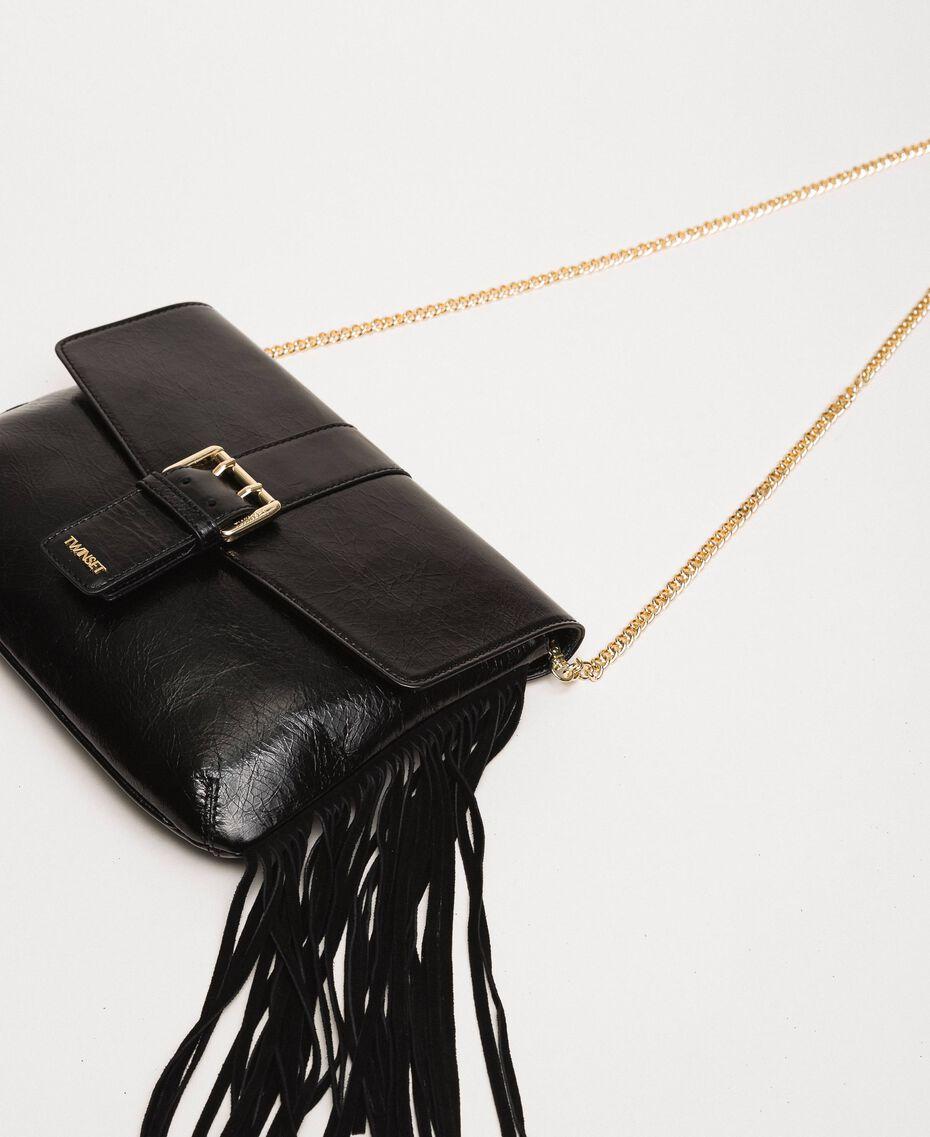 Leather shoulder bag with fringes Black Woman 201TO8142-03