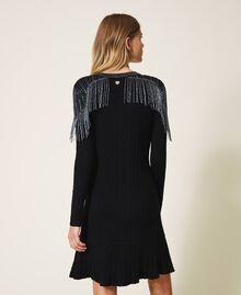 Robe en maille côtelée avec franges Noir Femme 202TT3211-03