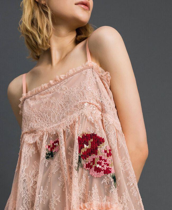 Top en dentelle de Valenciennes avec broderies florales Rose Pâle Femme 192TP2588-04