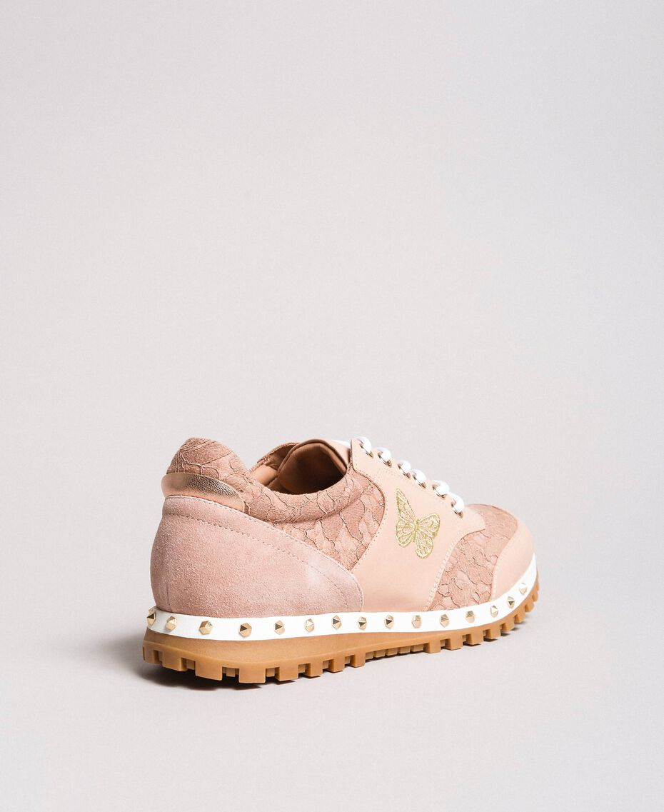 Sneakers aus Spitze und Wildleder Perlrosa Frau 191TCP026-02