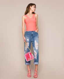 Bea Bag en PVC avec chaîne à bandoulière Fuchsia Fluo Femme 201TO8200-0S