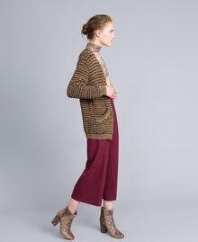 Jacquard lurex cardigan Camel Gold Lurex Jacquard Woman PA835B-02