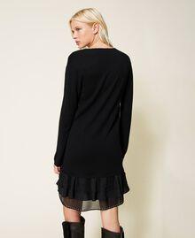 Robe en laine mélangée avec clous et franges Noir Femme 212TP3191-04