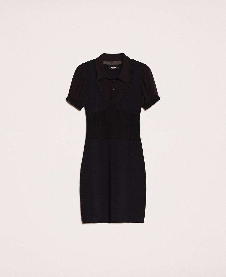 Robe fourreau en maille stretch Noir Femme 201MP3032-0S