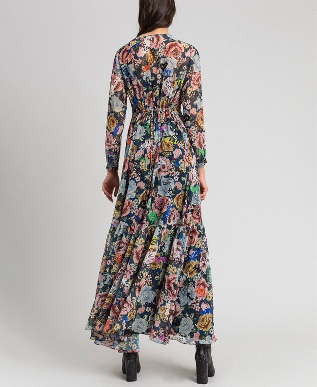 Long dress with floral and graffiti print Blue Flower Graffiti Print Woman 192MP2221-03