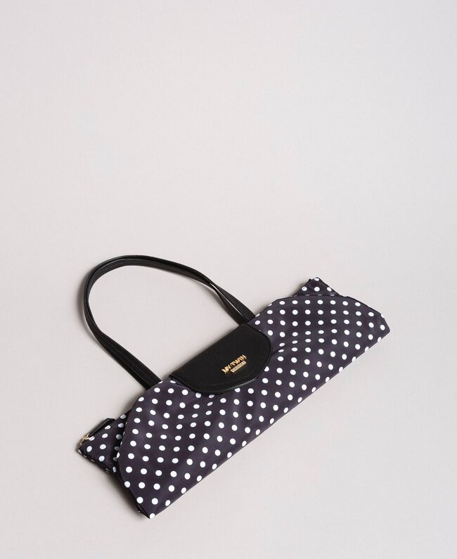 Polka dot foldable shopper bag White / Black Polka Dot Print Woman 191MA7120-04
