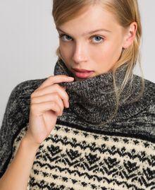 Poncho en mélange de laine et mohair jacquard Noir Femme 192LL3AJJ-05