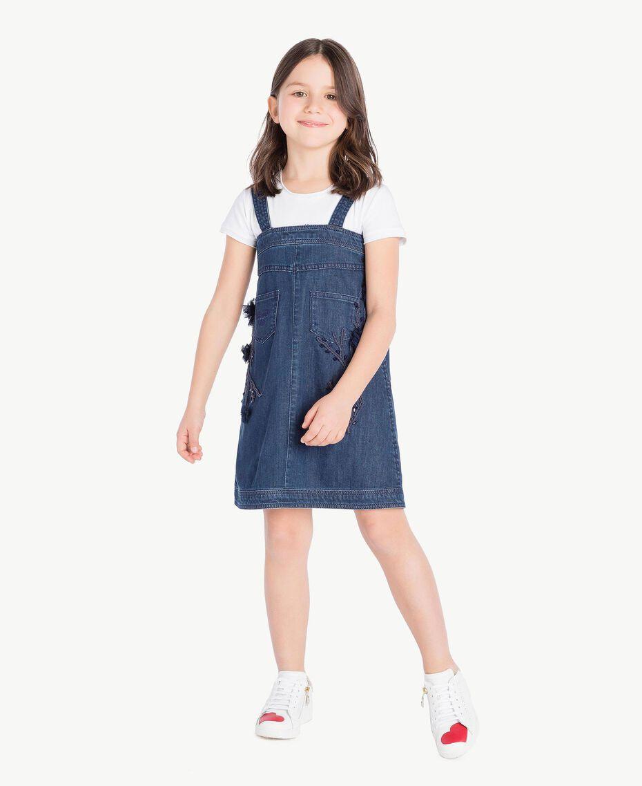 Kleid aus Denim Stickerei Denimblau / Ozeanblau Kind GS82JB-02