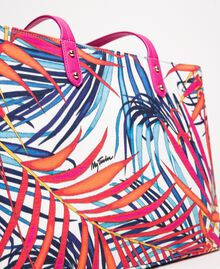 "Shopper aus bedrucktem Canvas Print Ferns ""Ice""-Weiß Frau 201MO8130-04"
