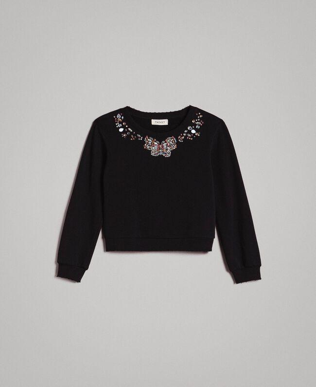 Cotton sweatshirt with multicolour stones Black Child 191GJ2311-01