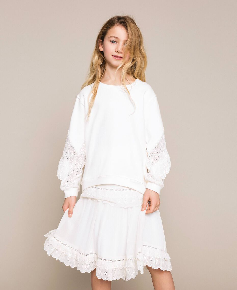 Sweatshirt with broderie anglaise inlay and frill Off White Child 201GJ2461-02