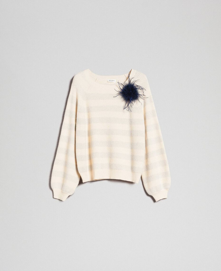 """Two-tone striped jumper with lurex and brooch """"Creamy"""" White Striped / Silver Woman 192ST3080-0S"""