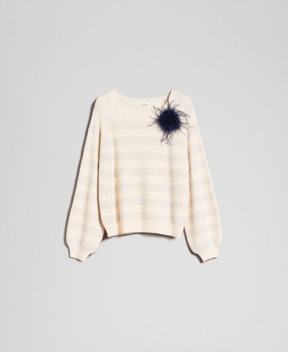 Pull à rayures bicolores avec lurex et broche Rayé Blanc «Crème» / Argent Femme 192ST3080-0S