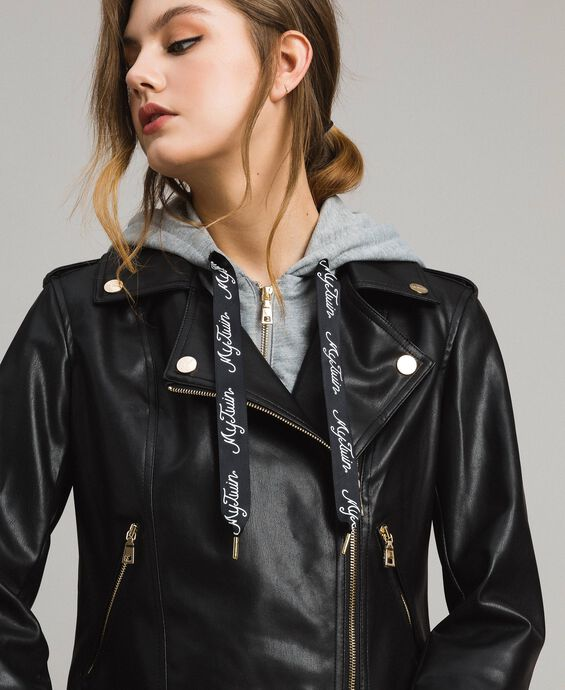 Faux leather biker jacket with fleece insert
