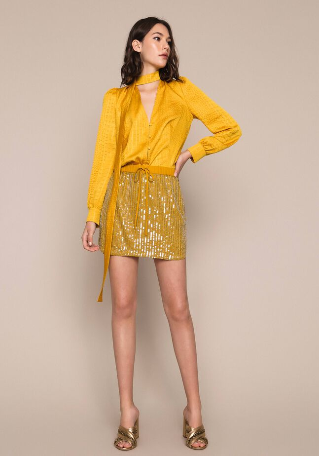 Tulle and all over sequin short skirt