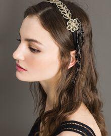 Kopfband mit Perlenfransen Schwarz Frau 191TO534J-0T