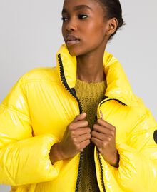 Patent leather effect short puffer jacket Yellow Woman 192MT2070-03