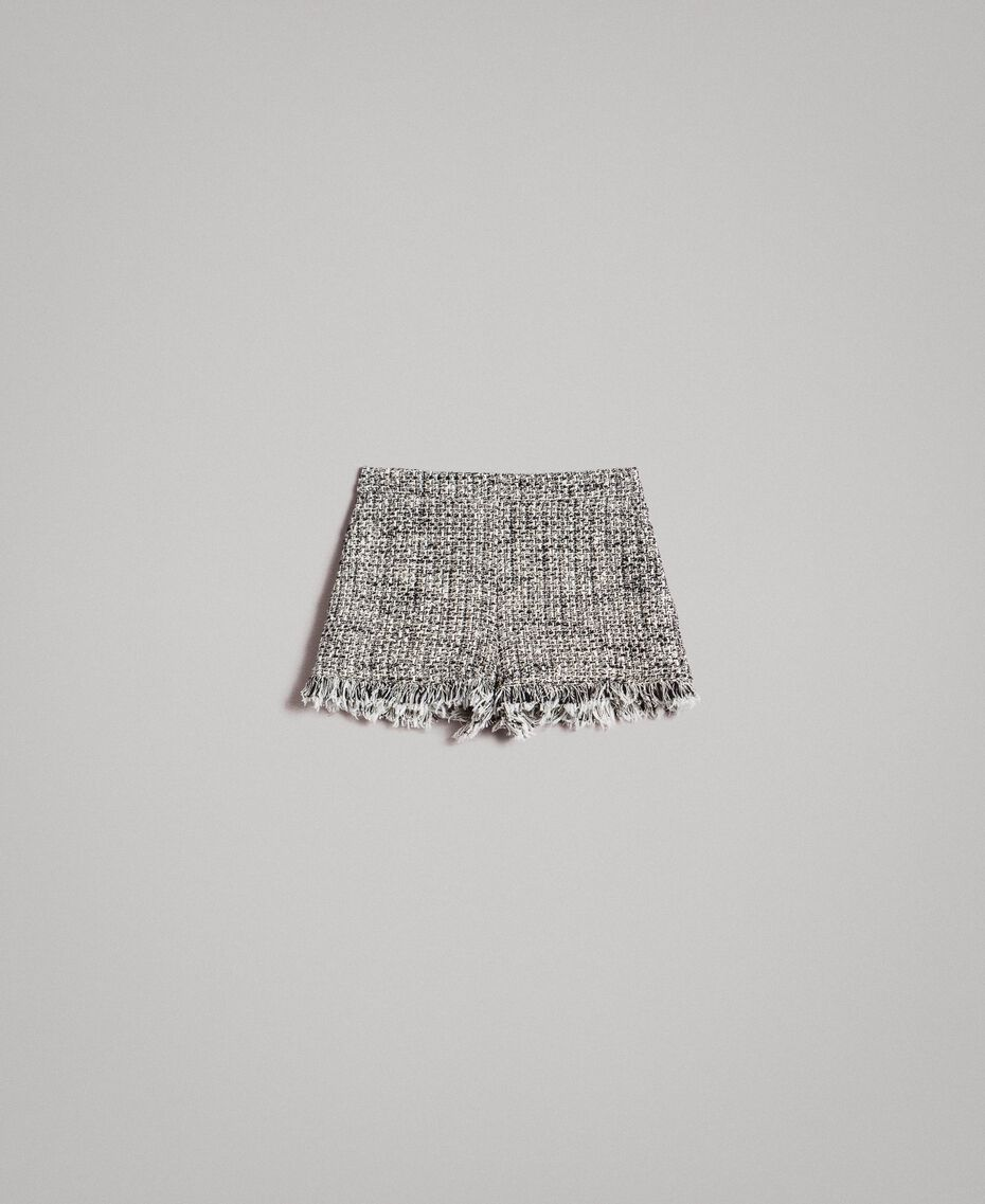 "Fringed tweed shorts Two-tone ""Snow"" White Bouclé / Black Woman 191TP2526-0S"
