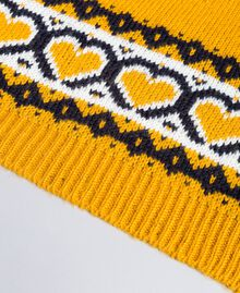 Jacquard scarf with hearts Golden Yellow Woman RA8T2B-02