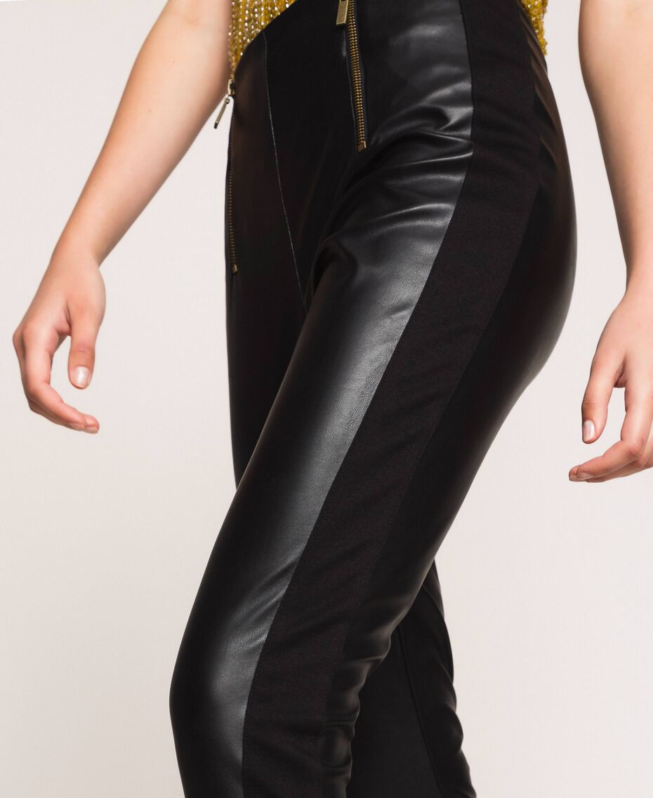 Faux leather leggings with zip Black Woman 201TP2200-02