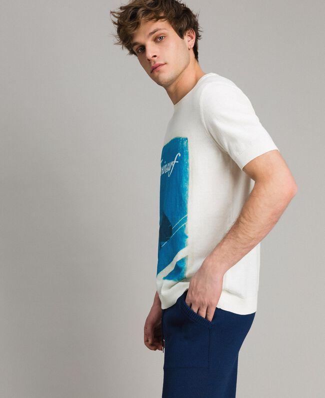 """T-shirt en crêpe de coton avec imprimé Imprimé Bleu Baie """"Twinsurf"""" Homme 191UT3050-03"""